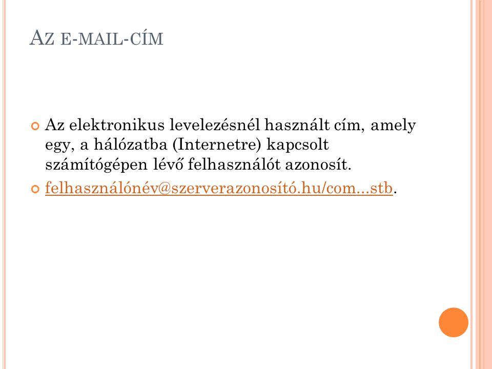 A Z E - MAIL - CÍM Az elektronikus levelezésnél használt cím, amely egy, a hálózatba (Internetre) kapcsolt számítógépen lévő felhasználót azonosít. fe