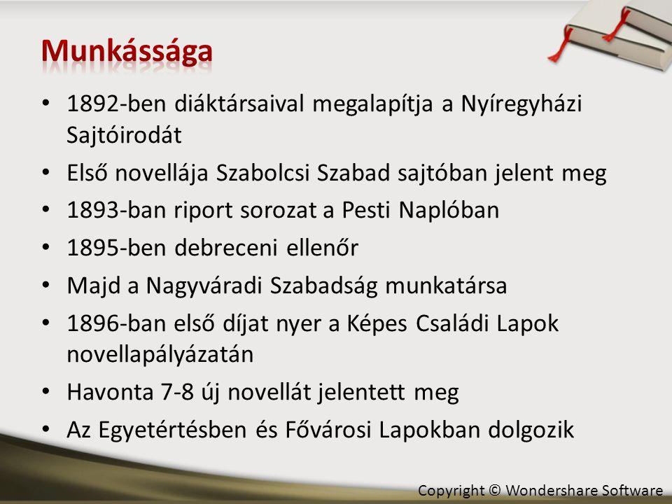 • 1892-ben diáktársaival megalapítja a Nyíregyházi Sajtóirodát • Első novellája Szabolcsi Szabad sajtóban jelent meg • 1893-ban riport sorozat a Pesti Naplóban • 1895-ben debreceni ellenőr • Majd a Nagyváradi Szabadság munkatársa • 1896-ban első díjat nyer a Képes Családi Lapok novellapályázatán • Havonta 7-8 új novellát jelentett meg • Az Egyetértésben és Fővárosi Lapokban dolgozik