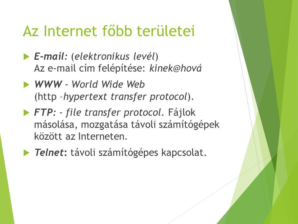 Az Internet főbb területei  E-mail: (elektronikus levél) Az e-mail cím felépítése: kinek@hová  WWW - World Wide Web (http –hypertext transfer protoc