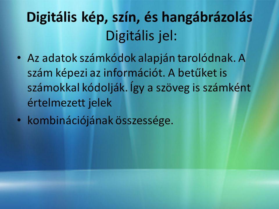 Digitális kép, szín, és hangábrázolás Digitális jel: • Az adatok számkódok alapján tarolódnak.