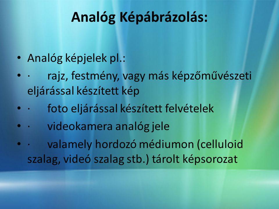 Analóg Képábrázolás: • Analóg képjelek pl.: • · rajz, festmény, vagy más képzőművészeti eljárással készített kép • · foto eljárással készített felvételek • · videokamera analóg jele • · valamely hordozó médiumon (celluloid szalag, videó szalag stb.) tárolt képsorozat