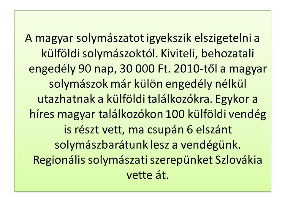 A magyar solymászatot igyekszik elszigetelni a külföldi solymászoktól. Kiviteli, behozatali engedély 90 nap, 30 000 Ft. 2010-től a magyar solymászok m