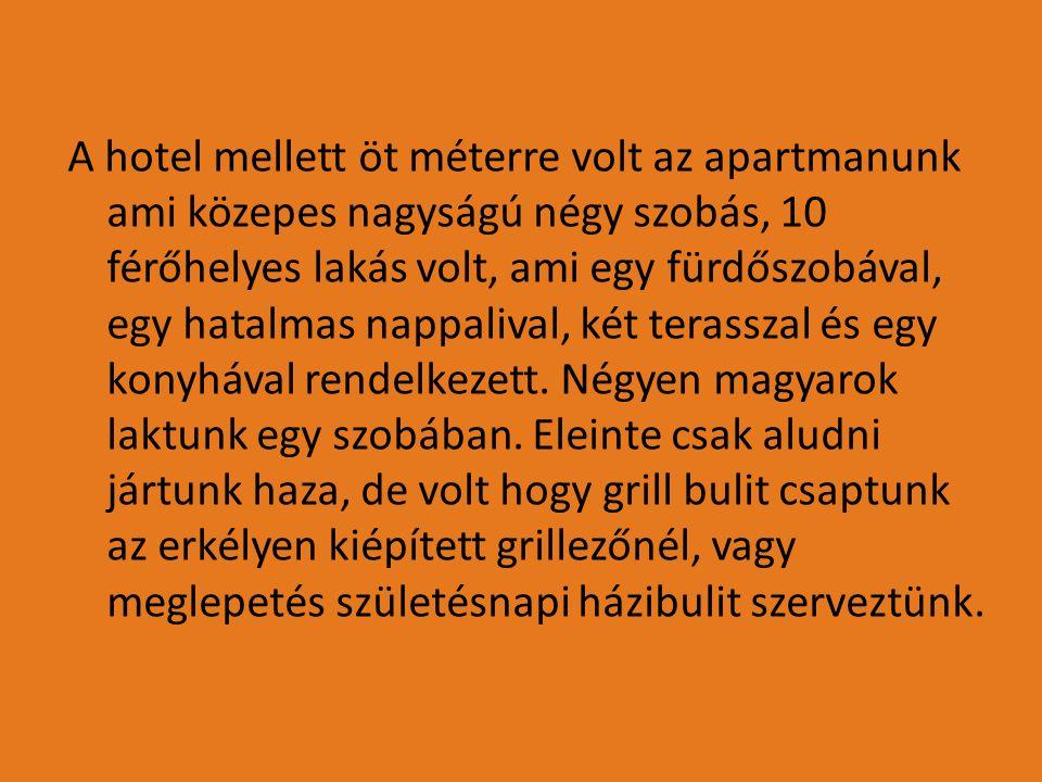 A hotel mellett öt méterre volt az apartmanunk ami közepes nagyságú négy szobás, 10 férőhelyes lakás volt, ami egy fürdőszobával, egy hatalmas nappali