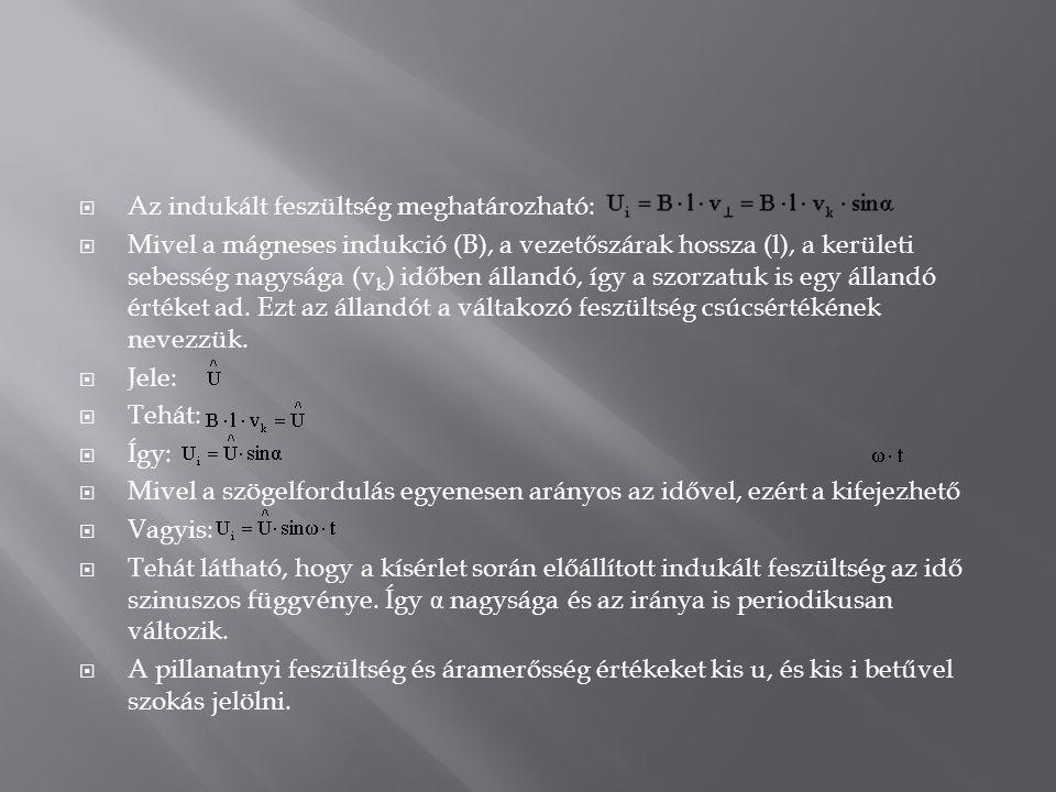  Az indukált feszültség meghatározható:  Mivel a mágneses indukció (B), a vezetőszárak hossza (l), a kerületi sebesség nagysága (v k ) időben álland