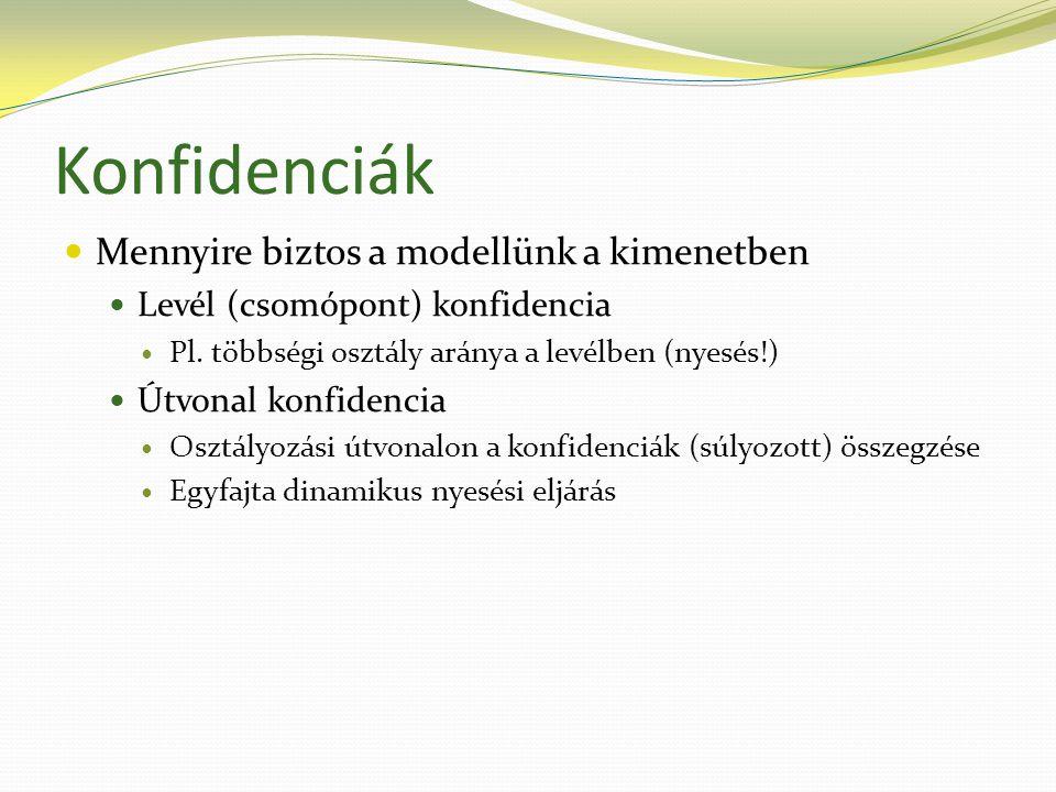 Konfidenciák  Mennyire biztos a modellünk a kimenetben  Levél (csomópont) konfidencia  Pl.