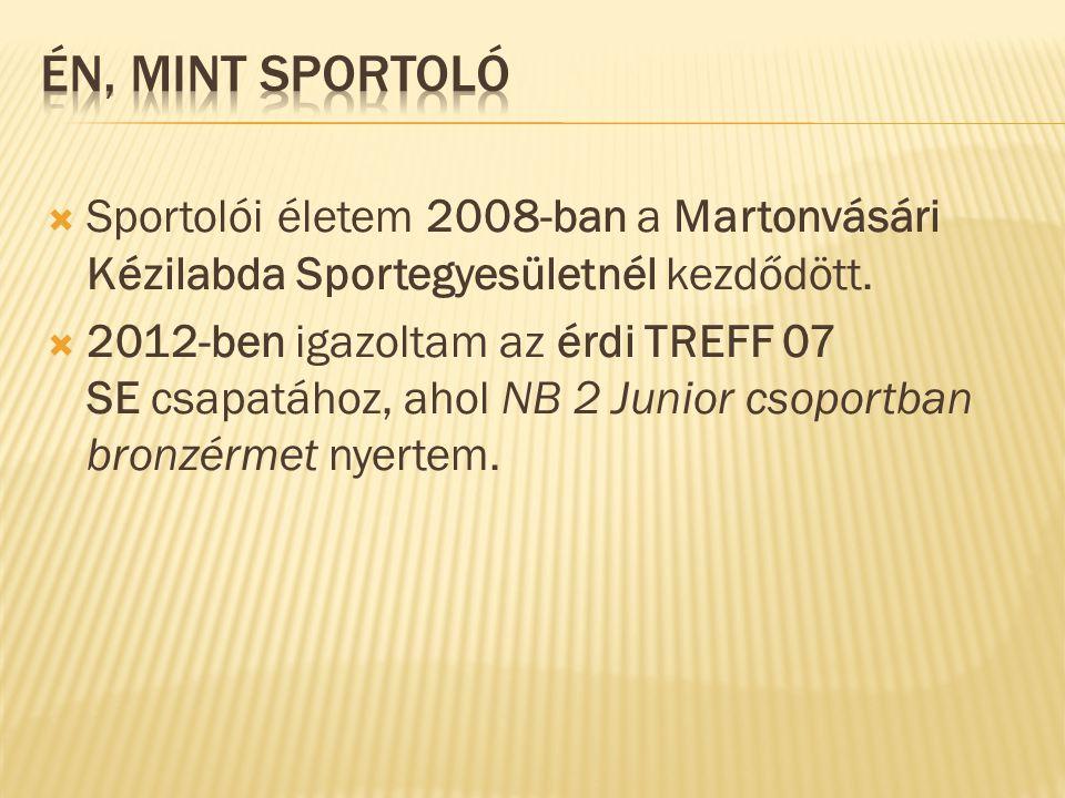  Sportolói életem 2008-ban a Martonvásári Kézilabda Sportegyesületnél kezdődött.  2012-ben igazoltam az érdi TREFF 07 SE csapatához, ahol NB 2 Junio
