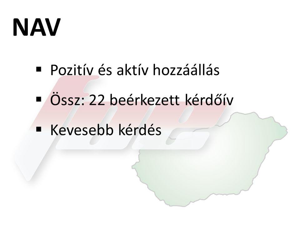 NAV  Pozitív és aktív hozzáállás  Össz: 22 beérkezett kérdőív  Kevesebb kérdés