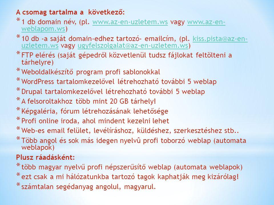 A csomag tartalma a következő: * 1 db domain név, (pl. www.az-en-uzletem.ws vagy www.az-en- weblapom.ws)www.az-en-uzletem.wswww.az-en- weblapom.ws * 1