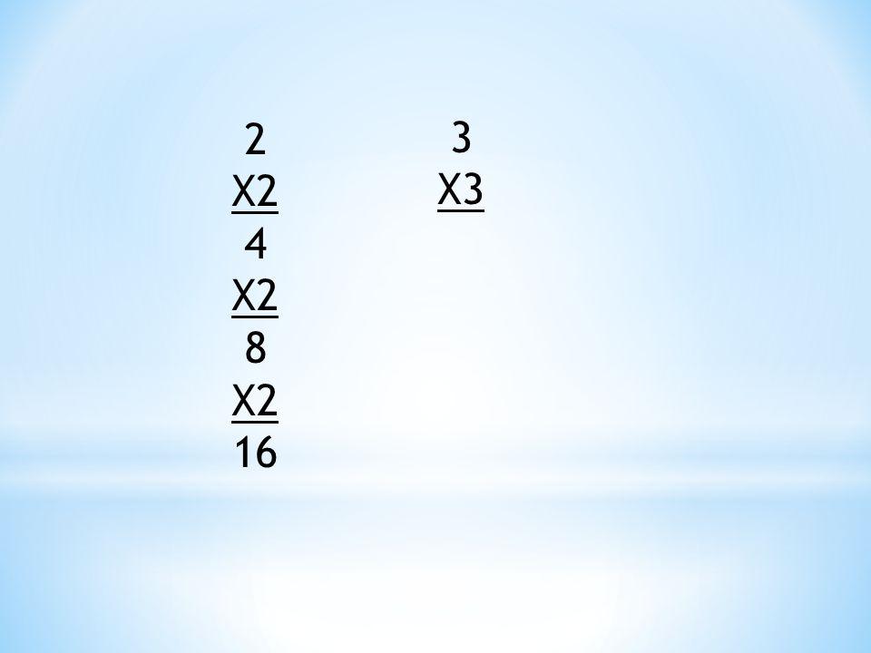 2 X2 4 X2 8 X2 16 3 X3