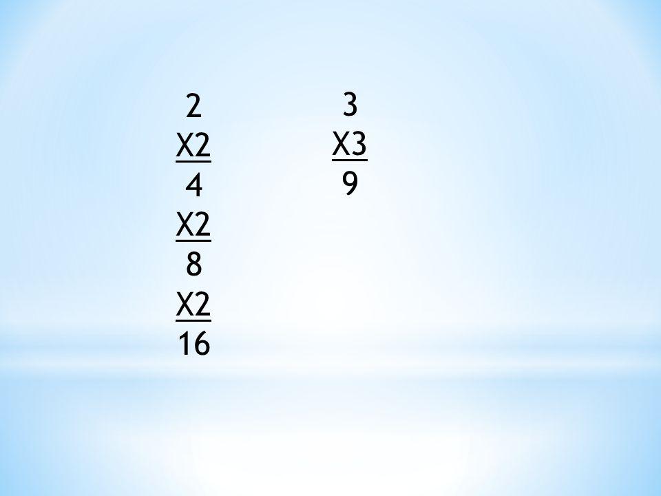 2 X2 4 X2 8 X2 16 3 X3 9