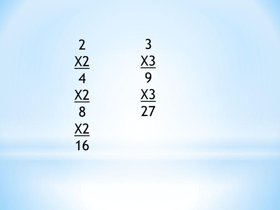 2 X2 4 X2 8 X2 16 3 X3 9 X3 27