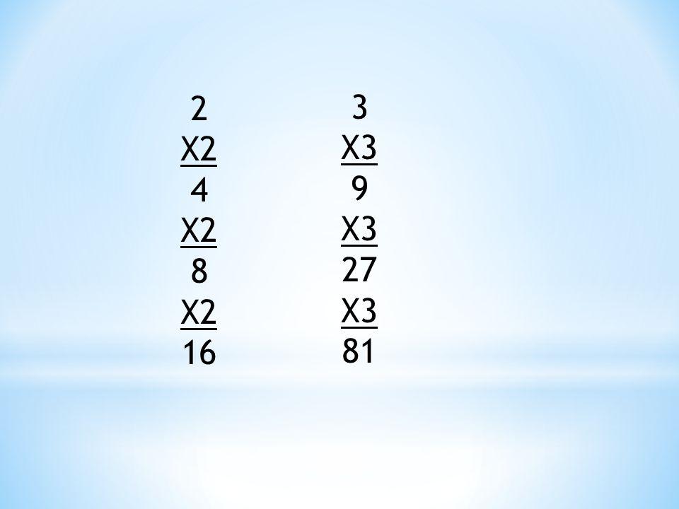 2 X2 4 X2 8 X2 16 3 X3 9 X3 27 X3 81