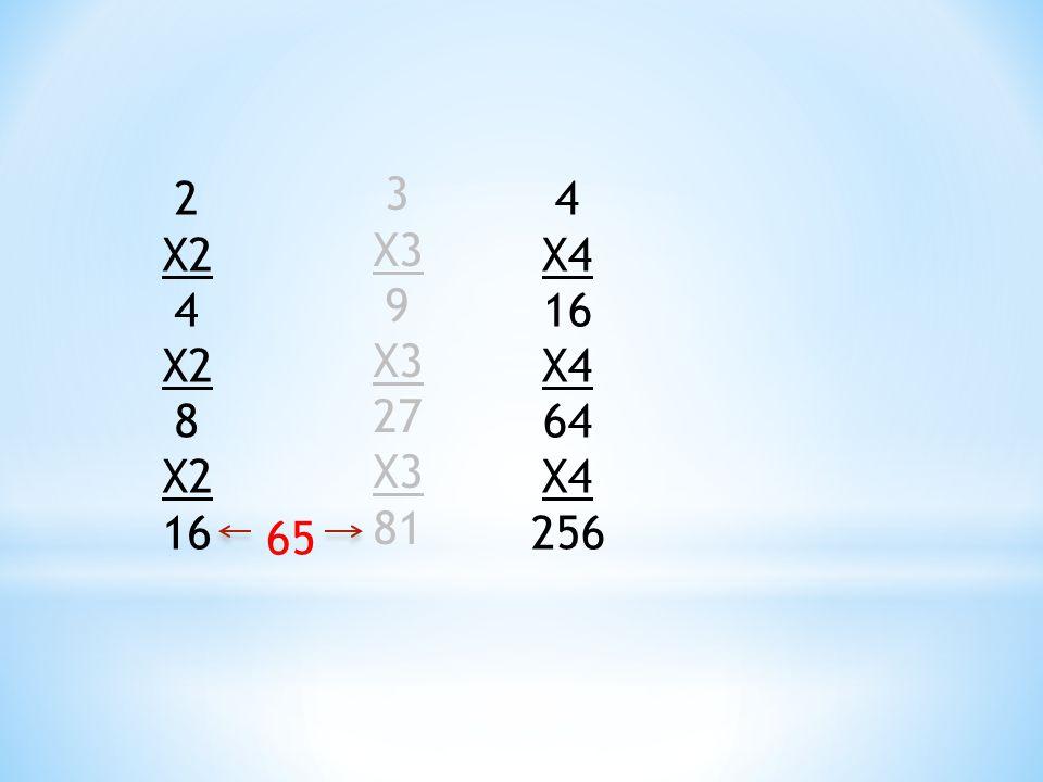 2 X2 4 X2 8 X2 16 3 X3 9 X3 27 X3 81 4 X4 16 X4 64 X4 256 65