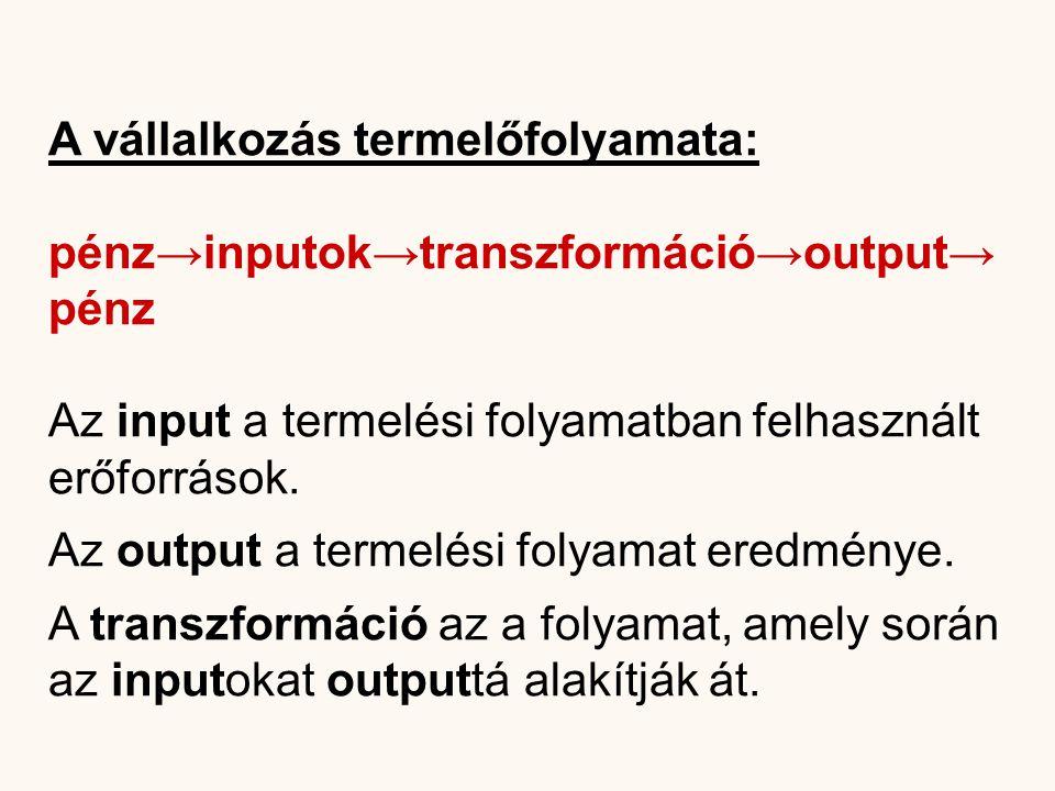 A vállalkozás termelőfolyamata: pénz→inputok→transzformáció→output→ pénz Az input a termelési folyamatban felhasznált erőforrások. Az output a termelé