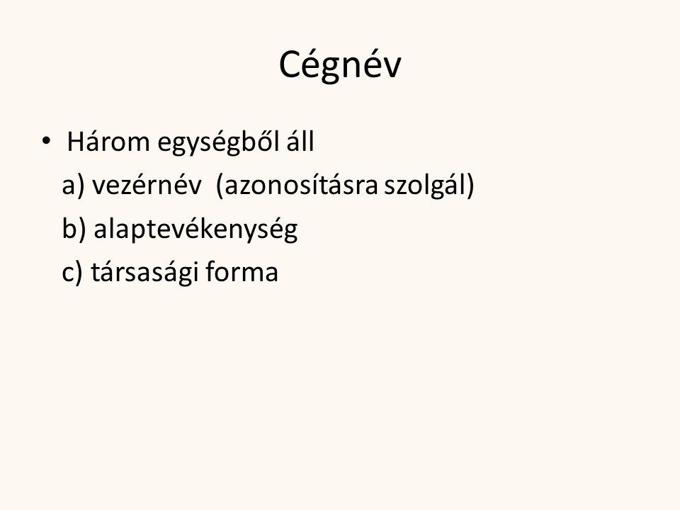 Cégnév • Három egységből áll a) vezérnév (azonosításra szolgál) b) alaptevékenység c) társasági forma