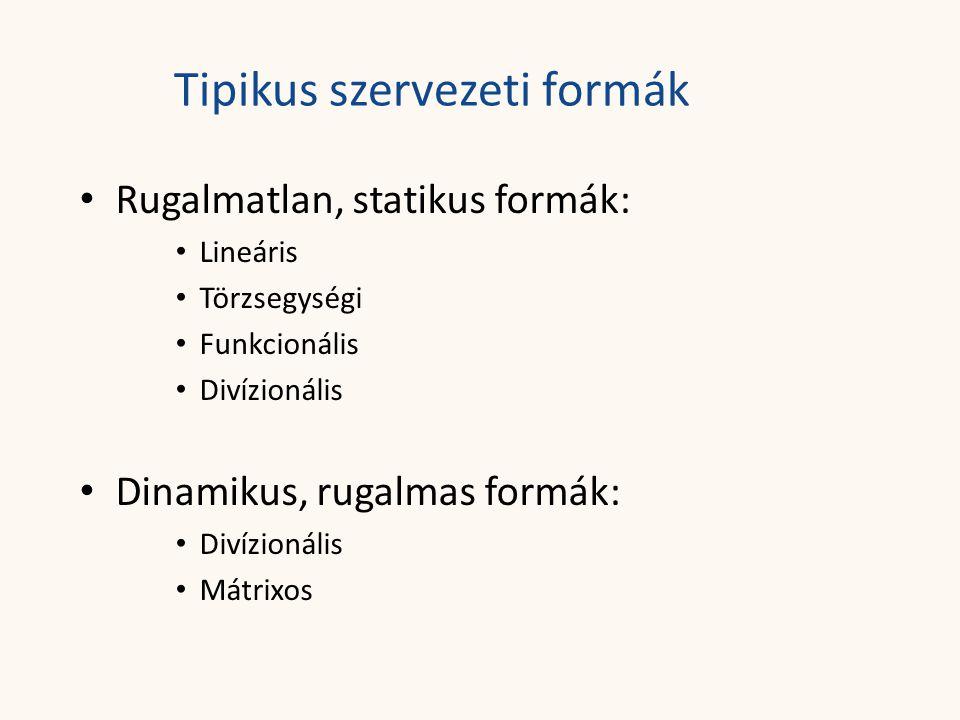 Tipikus szervezeti formák • Rugalmatlan, statikus formák: • Lineáris • Törzsegységi • Funkcionális • Divízionális • Dinamikus, rugalmas formák: • Diví