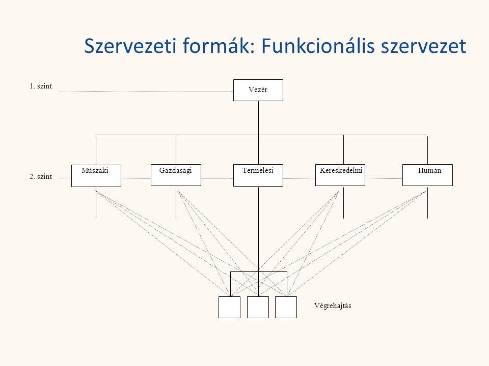 Szervezeti formák: Funkcionális szervezet 1. szint 2. szint Vezér MűszakiGazdaságiTermelésiKereskedelmiHumán Végrehajtás