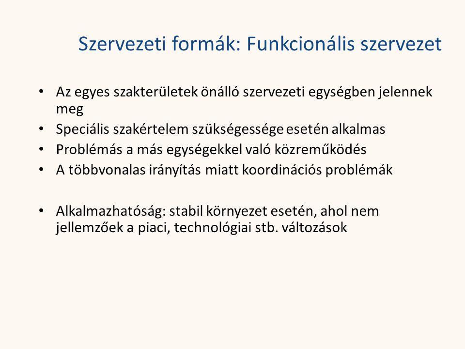 Szervezeti formák: Funkcionális szervezet • Az egyes szakterületek önálló szervezeti egységben jelennek meg • Speciális szakértelem szükségessége eset