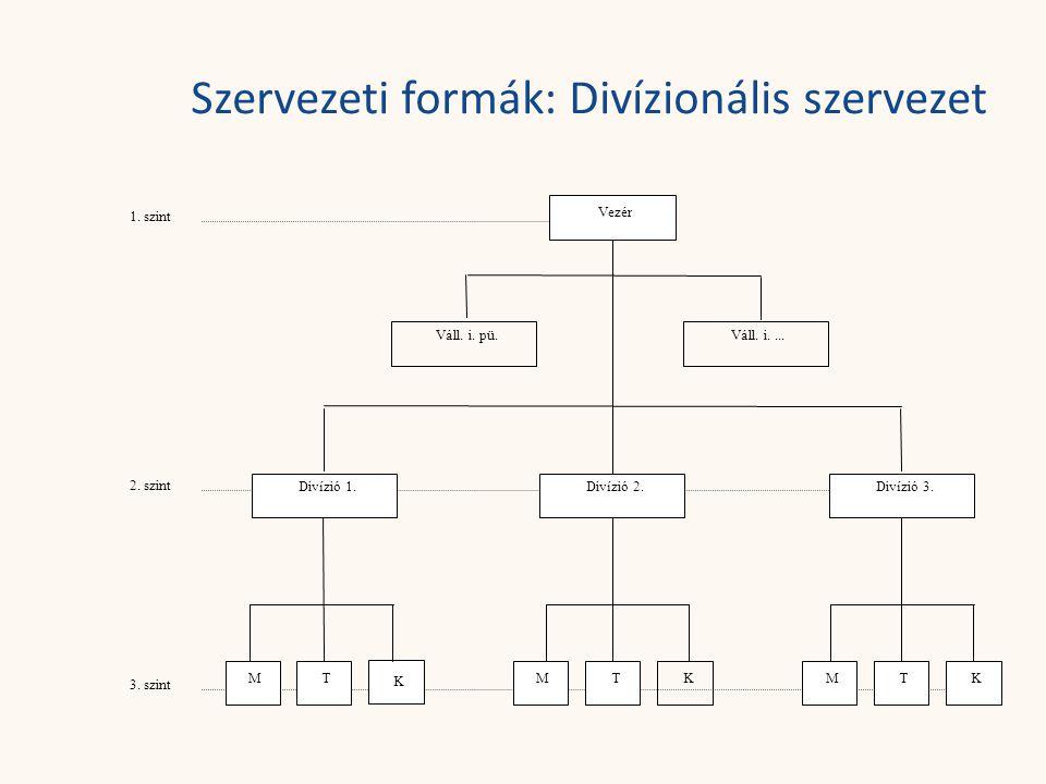 Szervezeti formák: Divízionális szervezet Vezér 1. szint 2. szint 3. szint Divízió 1. MMMTTT K KK Divízió 2.Divízió 3. Váll. i. pü.Váll. i....
