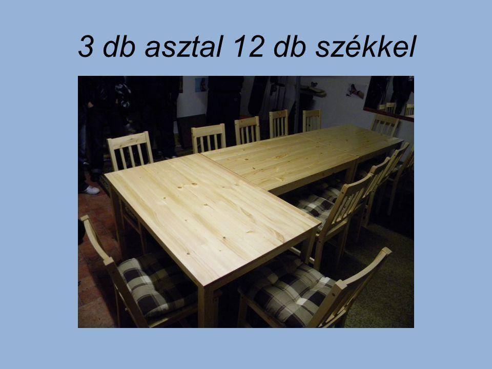 3 db asztal 12 db székkel