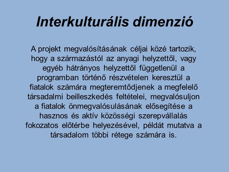 Interkulturális dimenzió A projekt megvalósításának céljai közé tartozik, hogy a származástól az anyagi helyzettől, vagy egyéb hátrányos helyzettől fü