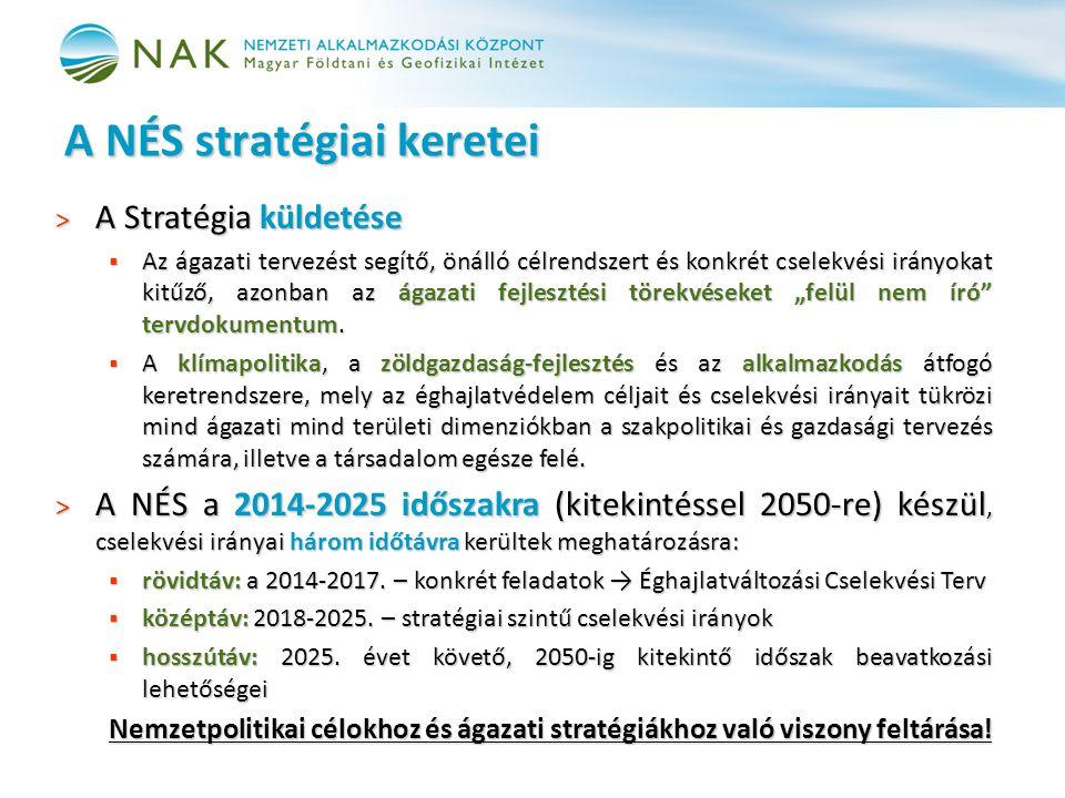 A NÉS stratégiai keretei > A Stratégia küldetése  Az ágazati tervezést segítő, önálló célrendszert és konkrét cselekvési irányokat kitűző, azonban az