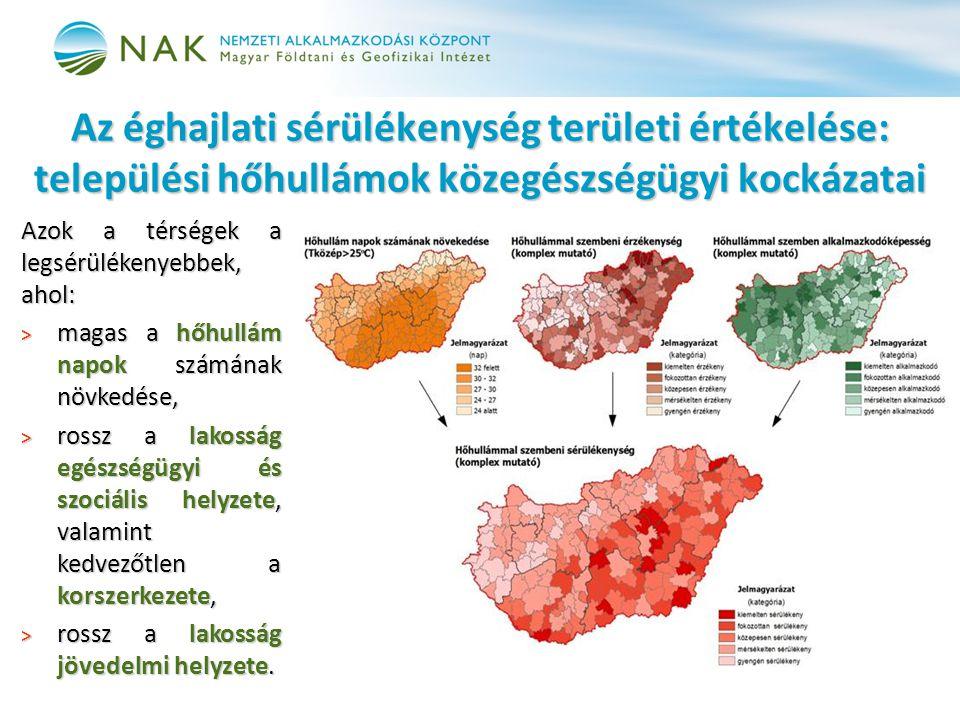 Azok a térségek a legsérülékenyebbek, ahol: > magas a hőhullám napok számának növkedése, > rossz a lakosság egészségügyi és szociális helyzete, valami