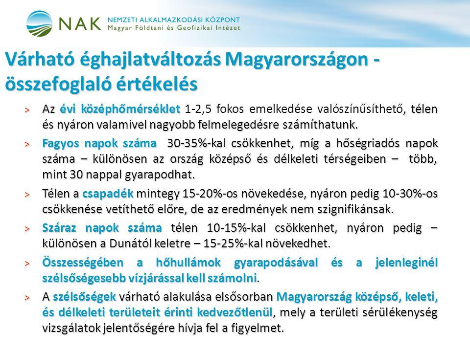 Várható éghajlatváltozás Magyarországon - összefoglaló értékelés > Az évi középhőmérséklet, télen és nyáron valamivel nagyobb felmelegedésre számíthat