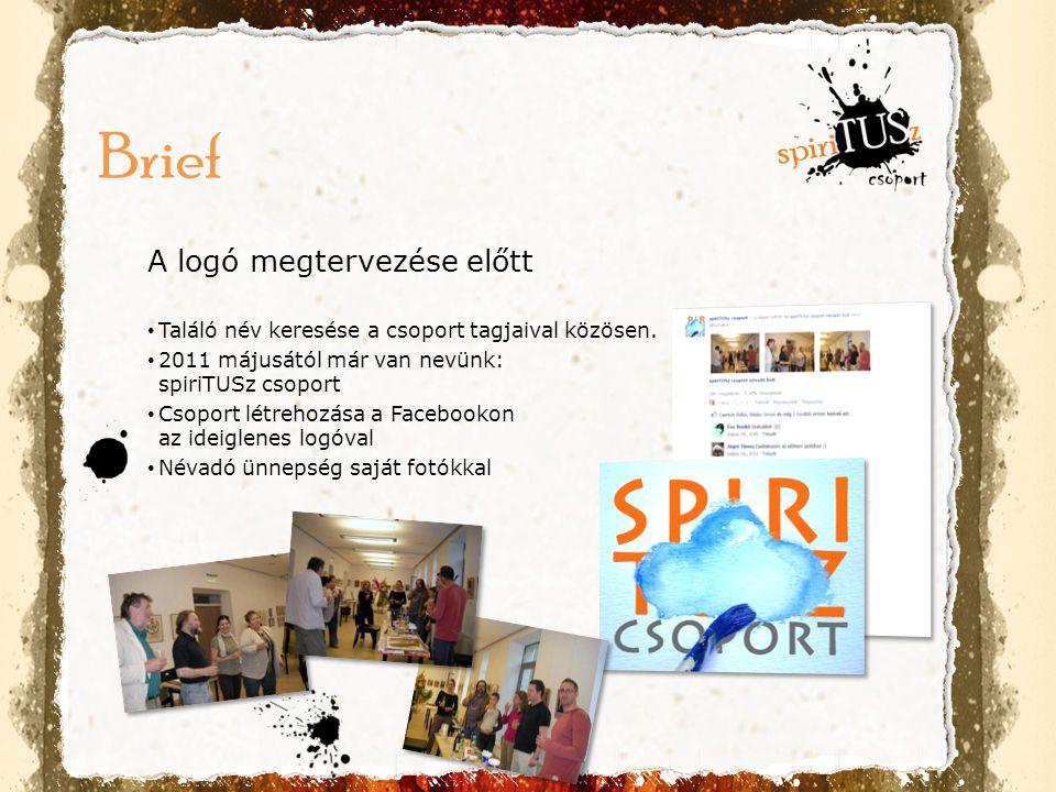 A logó megtervezése előtt • Találó név keresése a csoport tagjaival közösen. • 2011 májusától már van nevünk: spiriTUSz csoport • Csoport létrehozása