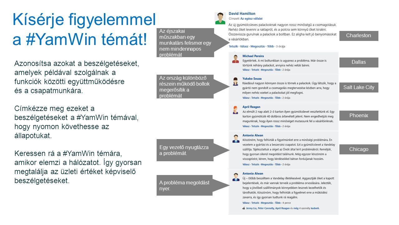 Kísérje figyelemmel a #YamWin témát! Azonosítsa azokat a beszélgetéseket, amelyek példával szolgálnak a funkciók közötti együttműködésre és a csapatmu