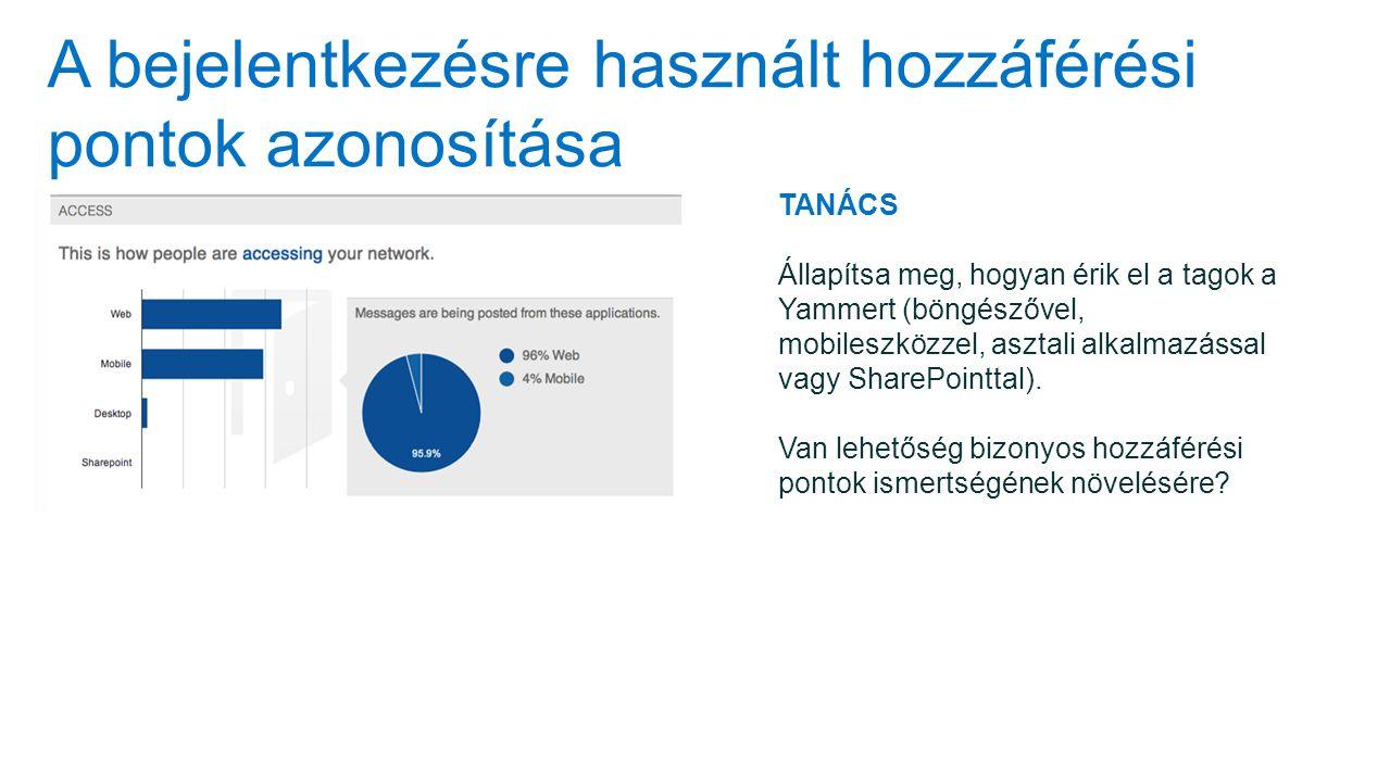 A bejelentkezésre használt hozzáférési pontok azonosítása TANÁCS Állapítsa meg, hogyan érik el a tagok a Yammert (böngészővel, mobileszközzel, asztali