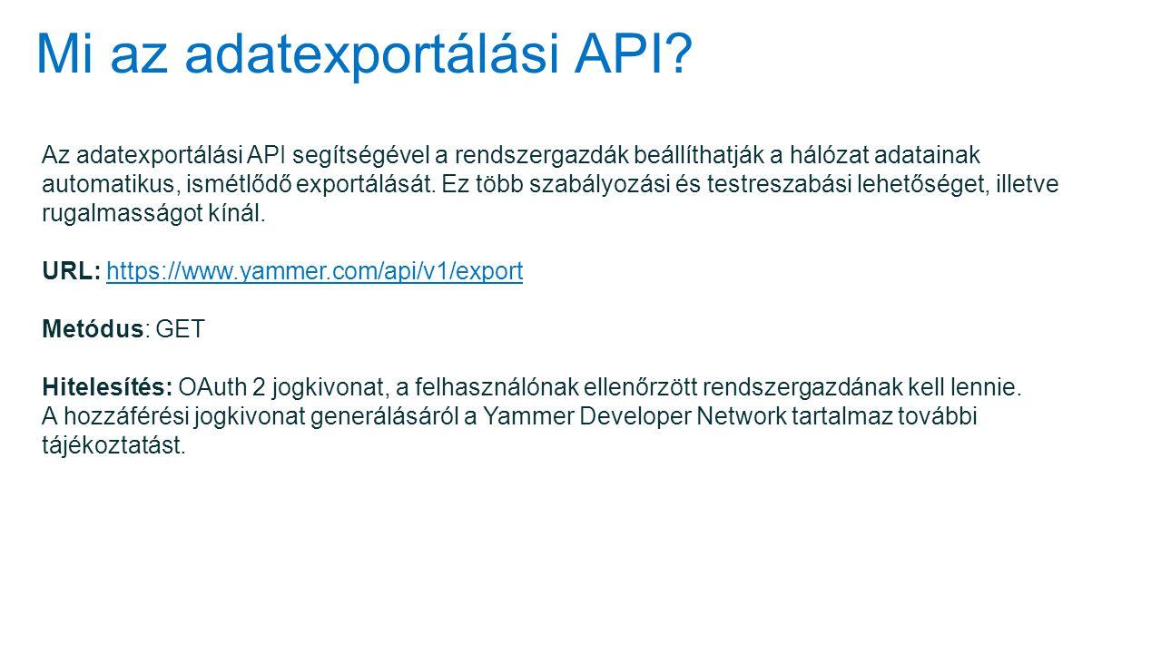 Mi az adatexportálási API? Az adatexportálási API segítségével a rendszergazdák beállíthatják a hálózat adatainak automatikus, ismétlődő exportálását.