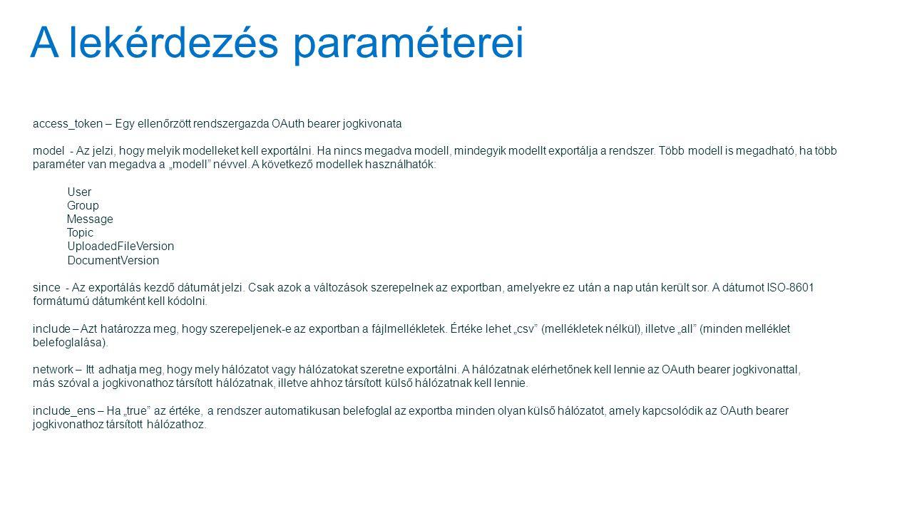 A lekérdezés paraméterei access_token – Egy ellenőrzött rendszergazda OAuth bearer jogkivonata model - Az jelzi, hogy melyik modelleket kell exportálni.