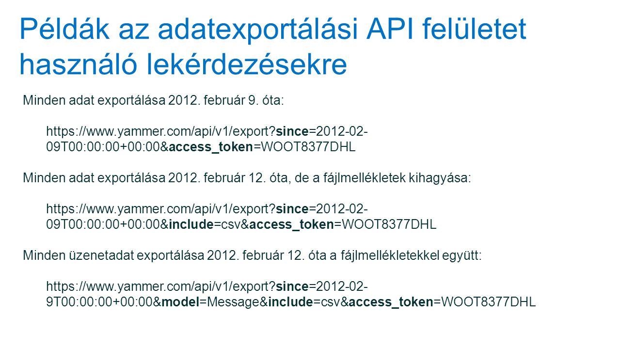 Példák az adatexportálási API felületet használó lekérdezésekre Minden adat exportálása 2012. február 9. óta: https://www.yammer.com/api/v1/export?sin