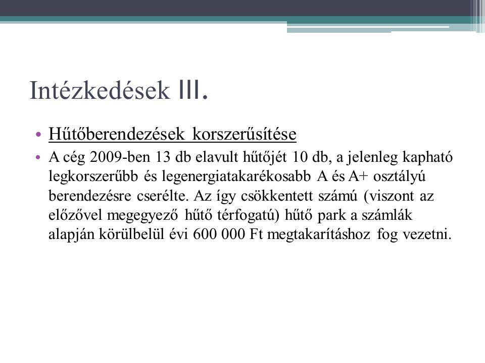 Intézkedések III. • Hűtőberendezések korszerűsítése • A cég 2009-ben 13 db elavult hűtőjét 10 db, a jelenleg kapható legkorszerűbb és legenergiatakaré