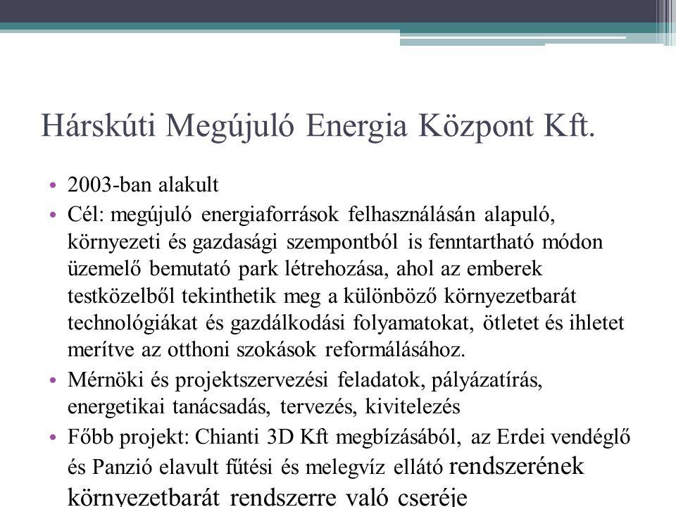 Hárskúti Megújuló Energia Központ Kft. • 2003-ban alakult • Cél: megújuló energiaforrások felhasználásán alapuló, környezeti és gazdasági szempontból