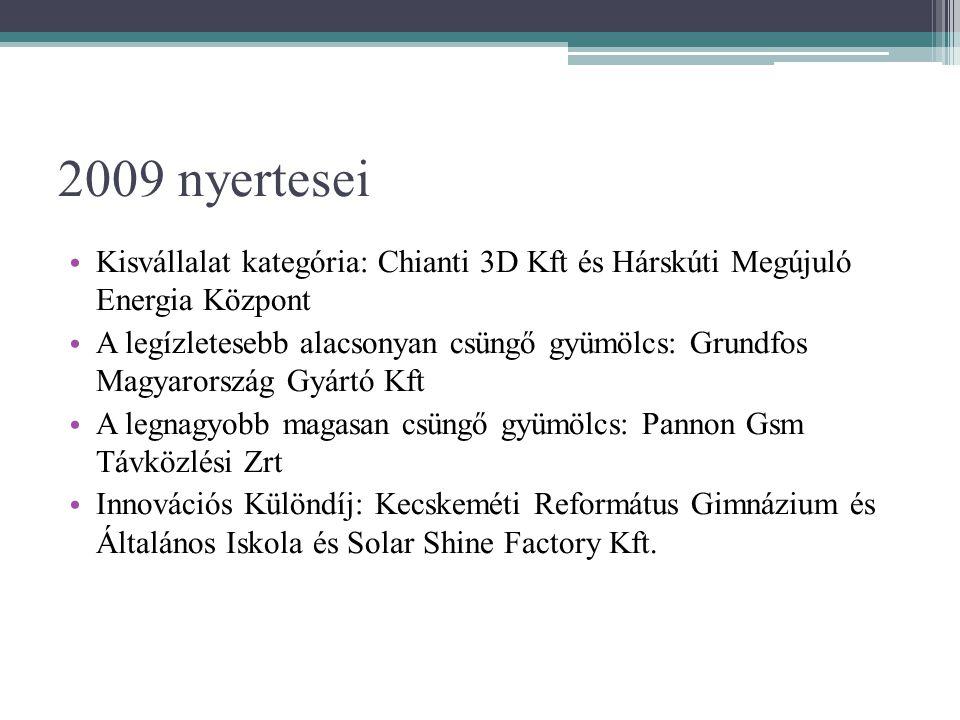 2009 nyertesei • Kisvállalat kategória: Chianti 3D Kft és Hárskúti Megújuló Energia Központ • A legízletesebb alacsonyan csüngő gyümölcs: Grundfos Magyarország Gyártó Kft • A legnagyobb magasan csüngő gyümölcs: Pannon Gsm Távközlési Zrt • Innovációs Különdíj: Kecskeméti Református Gimnázium és Általános Iskola és Solar Shine Factory Kft.