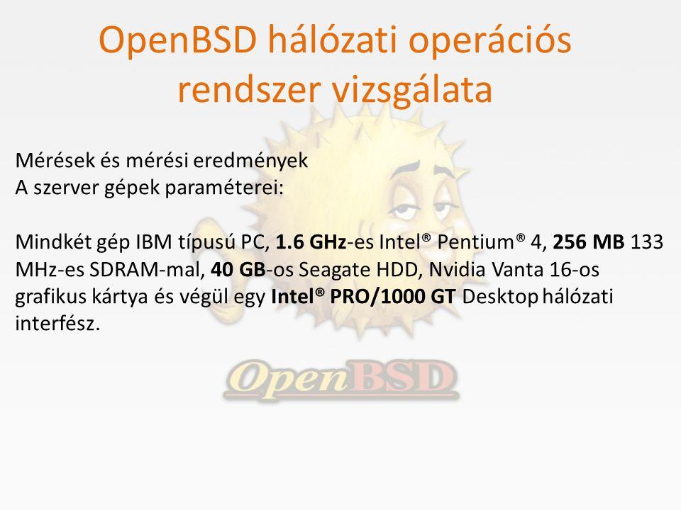 OpenBSD hálózati operációs rendszer vizsgálata Mérések és mérési eredmények A szerver gépek paraméterei: Mindkét gép IBM típusú PC, 1.6 GHz-es Intel®