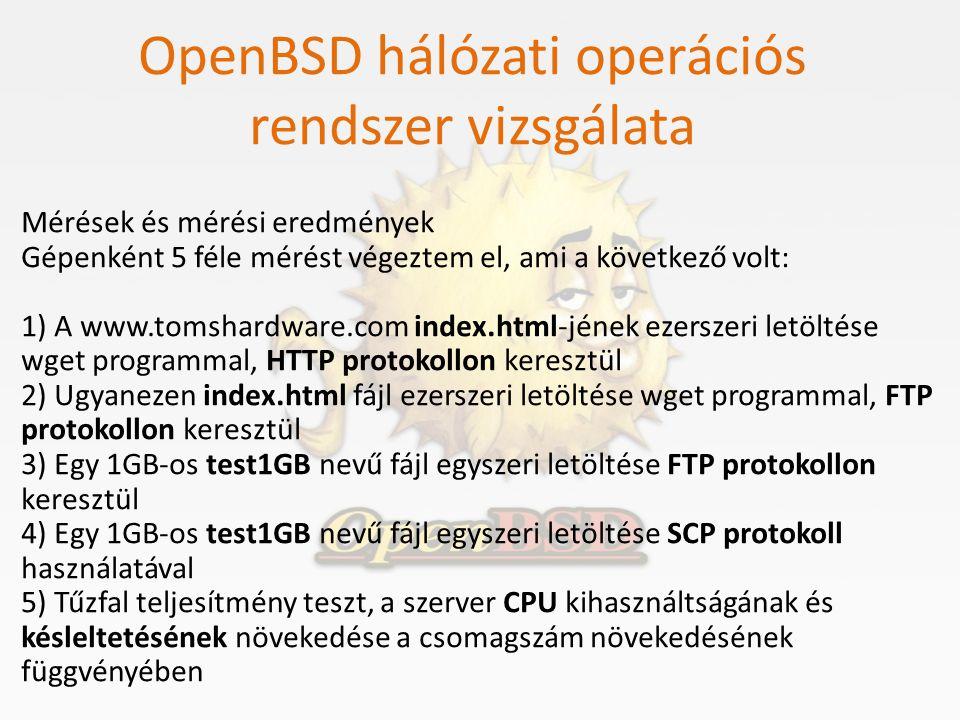 OpenBSD hálózati operációs rendszer vizsgálata Mérések és mérési eredmények Gépenként 5 féle mérést végeztem el, ami a következő volt: 1) A www.tomsha