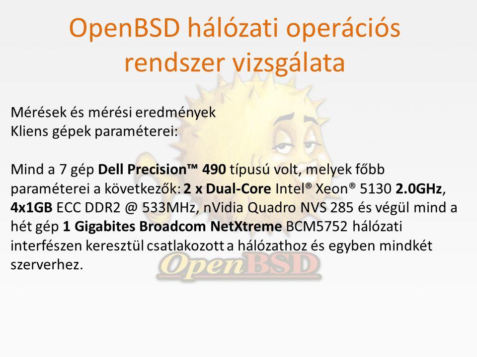 OpenBSD hálózati operációs rendszer vizsgálata Mérések és mérési eredmények Kliens gépek paraméterei: Mind a 7 gép Dell Precision™ 490 típusú volt, me