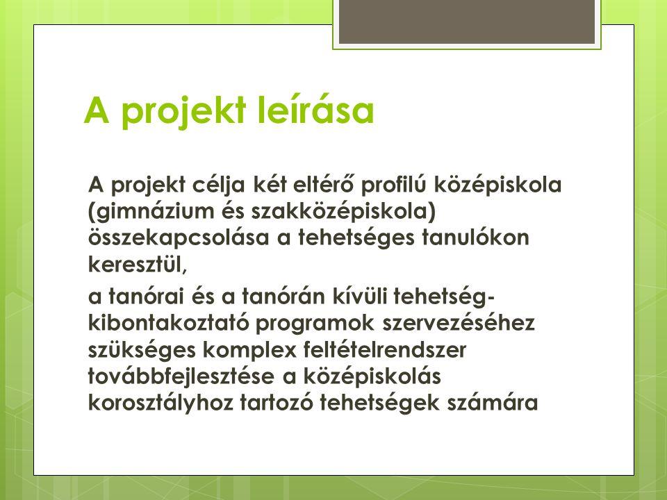 A projekt leírása A projekt célja két eltérő profilú középiskola (gimnázium és szakközépiskola) összekapcsolása a tehetséges tanulókon keresztül, a ta