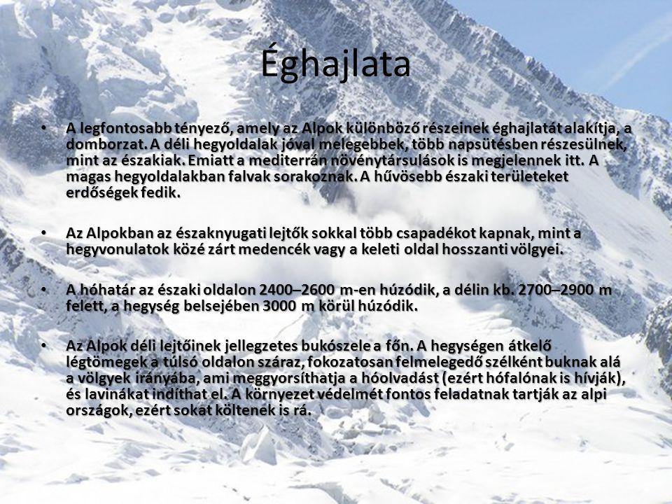 Éghajlata • A legfontosabb tényező, amely az Alpok különböző részeinek éghajlatát alakítja, a domborzat.