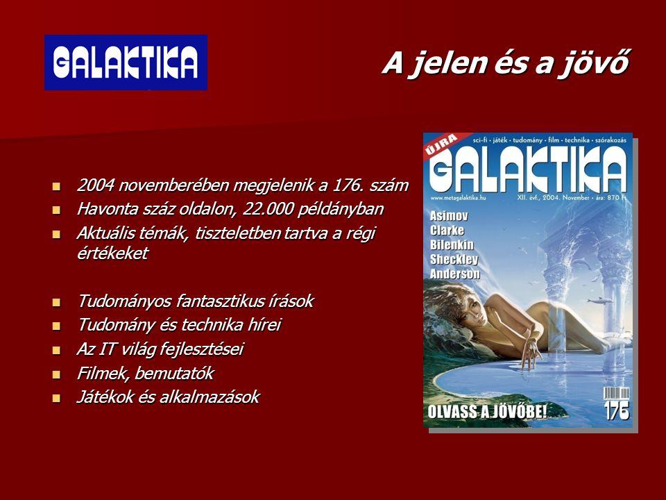 Tartalom  A hagyományos műfaj a sci-fi, novellák minden mennyiségben  A retró rovat visszanyúlik egy-egy igazi klasszikus darabhoz, a régi Galaktika iránt tisztelegve  Az itthon még ismeretlen írók művei és a fiatal tehetségek munkái egyaránt helyet kapnak a magazinban
