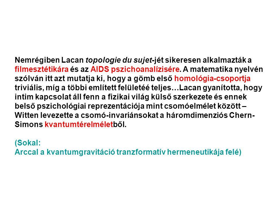 Nemrégiben Lacan topologie du sujet-jét sikeresen alkalmazták a filmesztétikára és az AIDS pszichoanalízisére.