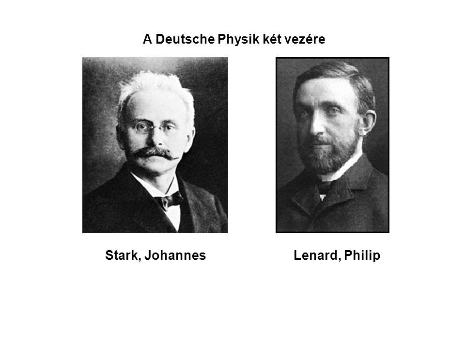 A Deutsche Physik két vezére Stark, JohannesLenard, Philip