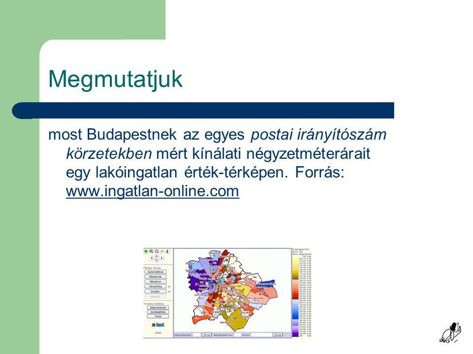 Megmutatjuk most Budapestnek az egyes postai irányítószám körzetekben mért kínálati négyzetméterárait egy lakóingatlan érték-térképen.