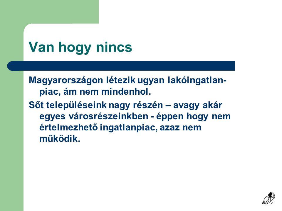 Van hogy nincs Magyarországon létezik ugyan lakóingatlan- piac, ám nem mindenhol.