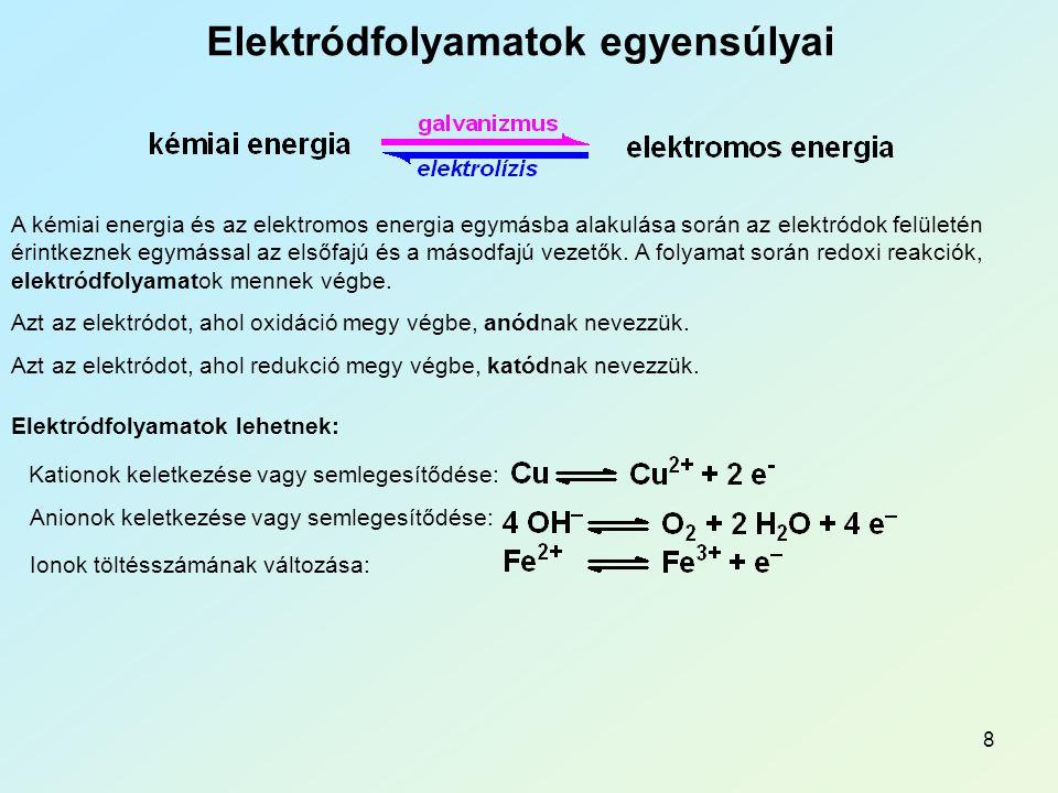 8 Elektródfolyamatok egyensúlyai A kémiai energia és az elektromos energia egymásba alakulása során az elektródok felületén érintkeznek egymással az elsőfajú és a másodfajú vezetők.