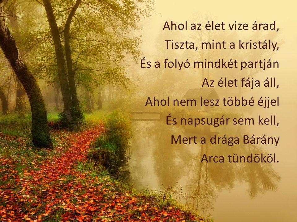 Ahol az élet vize árad, Tiszta, mint a kristály, És a folyó mindkét partján Az élet fája áll, Ahol nem lesz többé éjjel És napsugár sem kell, Mert a d