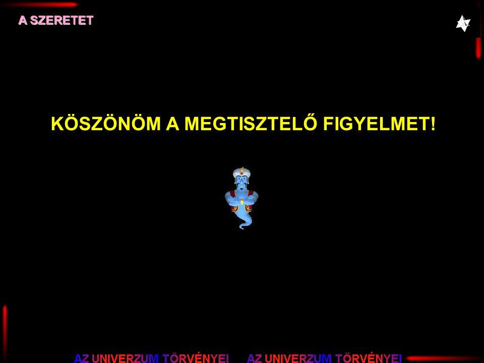 A SZERETET KÖSZÖNÖM A MEGTISZTELŐ FIGYELMET!